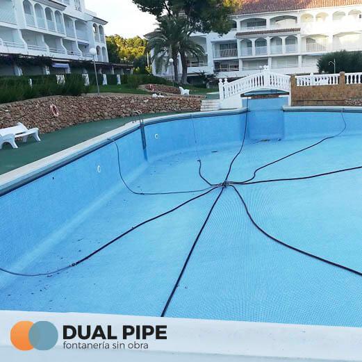 reparar fuga tubería de piscina hotel