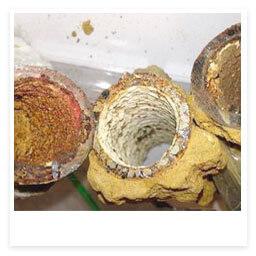 limpieza tubería suciedad oxido cal y sedimentos